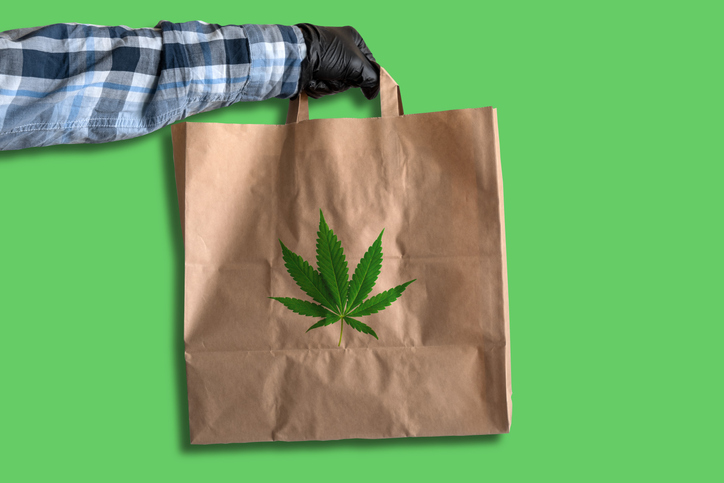 Cannabis delivery man with bag of weed for Blaze Blog